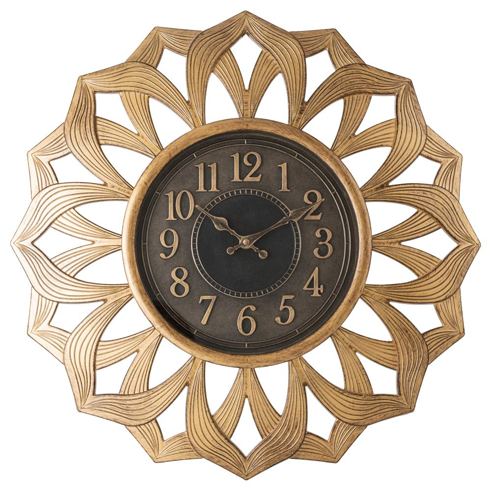 Pacific Bay Alsfeld Large Decorative Light-Weight 20-inch Wall Clock Silent, Non-Ticking, 3-D Aluminum Dial, Easy-to-Read, Quartz Battery Operated, Glass Face Cover