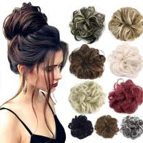 2pcs Hair Bun Extensions Wavy Curly Messy Donut Chignons Hair Piece Wig Hairpiece