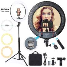 Ring Light 18 inch LED Ringlight with Tripod Stand and Phone Holder, Remote Control Dimmable Bi-Color 3000K-6500K Selfie Light Ring Kit for Makeup, YouTube, Vlog, Camera, Photo, Video, Beauty