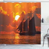"Ambesonne Sailboat Shower Curtain, Boat Sailing in Front of Sunset in Key West FloridSundown Tropical, Cloth Fabric Bathroom Decor Set with Hooks, 84"" Long Extra, Orange Grey"