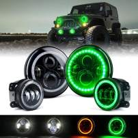 "Xprite 7"" 90W CREE LED Headlights & 4 Inch 60W Fog Lights Combo w/Green Halo Angel Eye for 2007-2018 Jeep Wrangler JK"