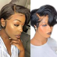 Short Lace Front Wigs Pixie Cut Wig Wavy Brazilian Remy Hair Wigs Glueless Lace Front Human Hair Wigs Pre Plucked