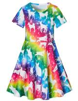 RAISEVERN Ugly Christmas Dress Girl's Short Sleeve Dress for Holiday Party