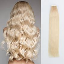 Sassina Two Tone Color Rooted Tape in Hair Extension Dirty Brown 12 Fading to Platinum Ash Blonde 60 Seamless,Invisible,Reusable Glue in Skin Weft 20Pcs 50g per set (R12-60 20 Inch)