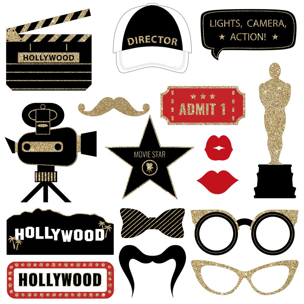 Fully Assembled Hollywood Photo Booth Props. 30 Piece Box Set of Real Glitter Red Carpet or Oscars Awards Party Accessories. Original Movie Night Designs Need No DIY. Selfie Supply and Decoration Kit.