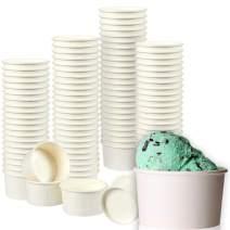 Ice Cream Sundae Cups, Disposable Dessert Bowls (White, 8 oz, 100 Pack)