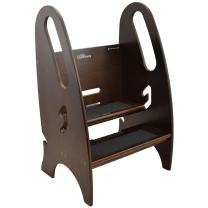 Little Partners Toddler & Adult Step Up Stool | 3-in-1 Adjustable Height Stepstool for Kitchen, Bathroom, or Nursery (Espresso)