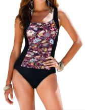 Firpearl Women's Black One Piece Bathing Suit Ruched Tummy Control Swimsuit