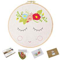 Full Range of Handmade Starter Embroidery Kits with Flower Pattern Including Embroidery Hoop, Embroidery Cloth, Color Threads, Needle and Instruction (511126)