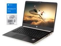 "HP 14 (7ZU89UA) Laptop, 14"" HD Display, Intel Core i3-1005G1 Upto 3.4GHz, 4GB RAM, 128GB SSD, HDMI, Card Reader, Wi-Fi, Bluetooth, Windows 10 Home S Mode - (Champagne Gold)"