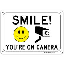 """Smile You're On Camera Sign, Video Surveillance Warning Made Out of .040 Rust-Free Aluminum, Indoor/Outdoor Use, UV Protected and Fade-Resistant, 7"""" x 10"""", by My Sign Center"""