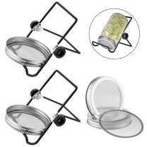 Jar Sprouting Lids, Stainless Steel Mesh Sprout Lid of 4 Pack and Stand for Cannnig Jar of 2 Pack, Wide Mouth Mason Sprout Jar Lids Kit for Making Organic Bean Sprout Seeds