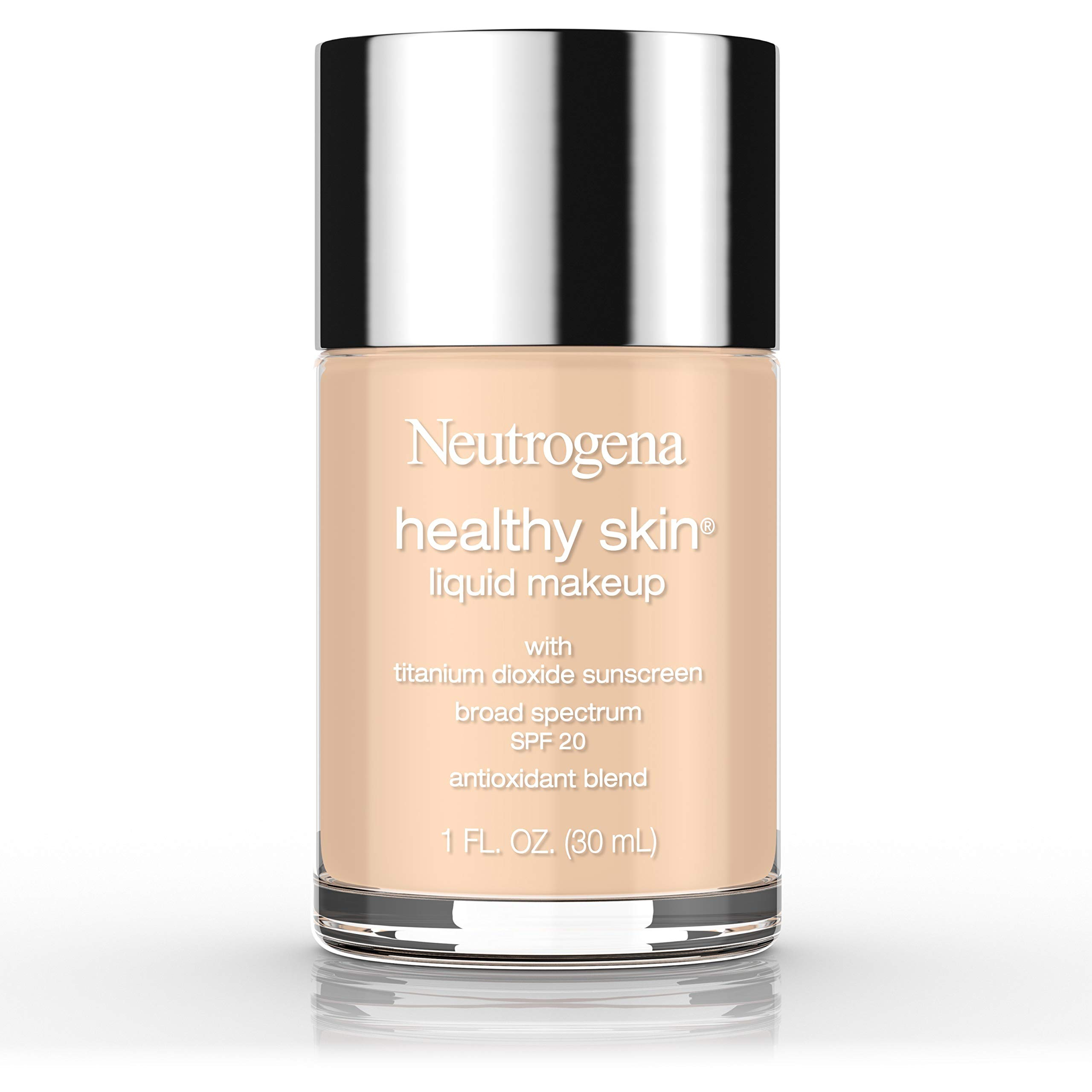 Neutrogena Healthy Skin Liquid Makeup Foundation, Broad Spectrum SPF 20 Sunscreen, Lightweight & Flawless Coverage Foundation with Antioxidant Vitamin E & Feverfew, Natural Beige, 1 fl. oz