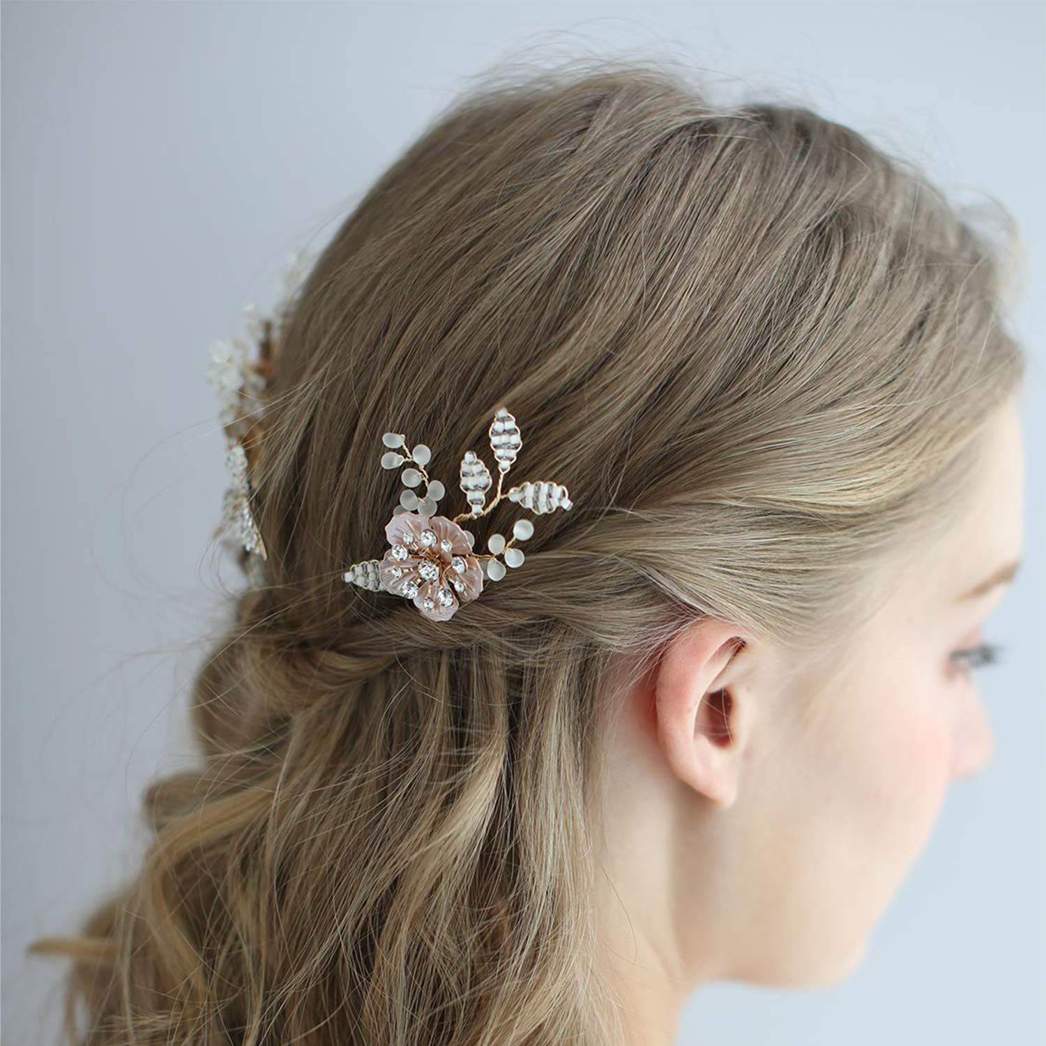 AW BRIDAL Wedding Hair Pins Clips Rhinestone Crystal Flower Girl Wedding Hair Combs Rose Gold Bridal Hair Piece for Women Girls