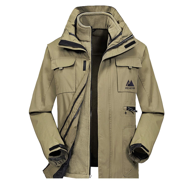 MECASTAR Mens Snowboard Ski Jacket 3-in-1 Waterproof Windproof Warm Winter Shell with Detachable Hood and Fleece Liner