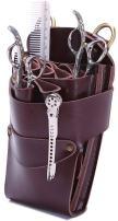 Scissor Pouch Holster with Belt for Hairdressers, Salon Hair Stylist Barber Scissors Shear Hairdressing Waist Holder Case Bag, Real Leather-Brown