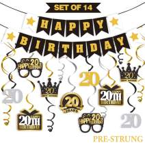 LINGTEER 20 Birthday Decorations Set - Happy 20th Birthday Party Swirls Streamers Crown Glasses Gift Box Sign | Happy Birthday Garland Banner Cheers to Twenty Years Old Birthday Party Supplies