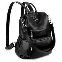 UTO Women Backpack Purse Leather Vegan Convertible Ladies Rucksack Zipper Pocket Shoulder Bag with Detachable Pouch