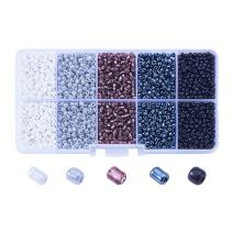 NBEADS 1 Box 5 Color 8/0 Round Glass Seed Beads 3mm Loose Beads Pony Beads Luster Transparent Colors with Hole for DIY Craft Bracelet Necklace Jewelry Making