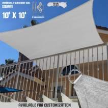 "TANG Sunshades Depot 10'x10' Light Grey Sun Shade Sail with 6"" in Hardware Kit 180 GSM Square UV Block Outdoor Canopy Patio Garden Yard Park Pergola Kindergarten Playground Custom"
