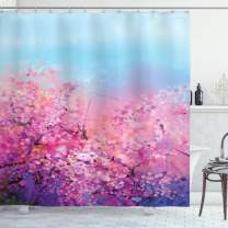 """Ambesonne Flower Shower Curtain, Sakura Blossom Floral Beauty with Sky Japanese Inspired Cherry Spring Theme, Cloth Fabric Bathroom Decor Set with Hooks, 75"""" Long, Purple"""