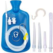 Smokitcen Enema Kit – 2L Enema Bag– 5.0ft. Long Silicone Hose – 5 Multi-Size Reusable Tips – Controlled Water Flow – for Colon Detox Cleanse Enemas