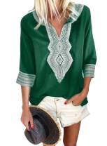 LOSRLY Women V Neck Long Sleeves Summer Embroidered Casual Shirt and Blouses (S-XXL)
