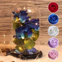 RECUTMS Beauty and The Beast Rose, 3 Blue Roses and Led Light in a Glass Dome for Mother's Day Valentine's Day Home Decor Holiday Birthday Party Wedding Anniversary (3 Blue Roses)