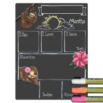 Cohas Monthly Milestone Board for Baby with Sloth Theme and Reusable Chalkboard Style Surface, 9 by 12 Inches, 3 Bright Markers