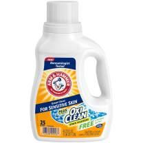 Arm & Hammer Plus OxiClean Free & Clear Sensitive Skin Liquid Laundry Detergent, 25 Loads