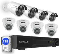 [2020 New] Security Camera System with 1TB Hard Drive,SAFEVANT 5-in-1 HD DVR Systems Indoor Outdoor Home CCTV Dome Bullet Cameras with Night Vision Motion Detection