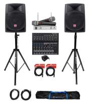 """(2) Rockville 12"""" 1600w Active PA/DJ Speakers+Mackie Mixer+Mic+Stands+Cables+Bag"""
