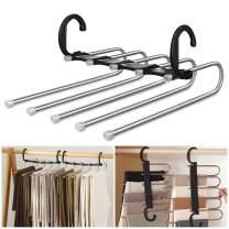 AIR&TREE Pants Hangers Space Saving,Anti-Rust Plastic Hangers,Durable and Sturdy Hangers for Pants Scarf Jeans Slack Trousers Ties Towels,Multiple Pants Hangers in One(Black,4 Pack)