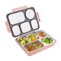 Sumerflos Large Bento Box, Leak Proof Lunch Box Containers, 5 Compartments Stainless Steel Food Containers for Adults, On-the-Go Meal and Snack (Pink)