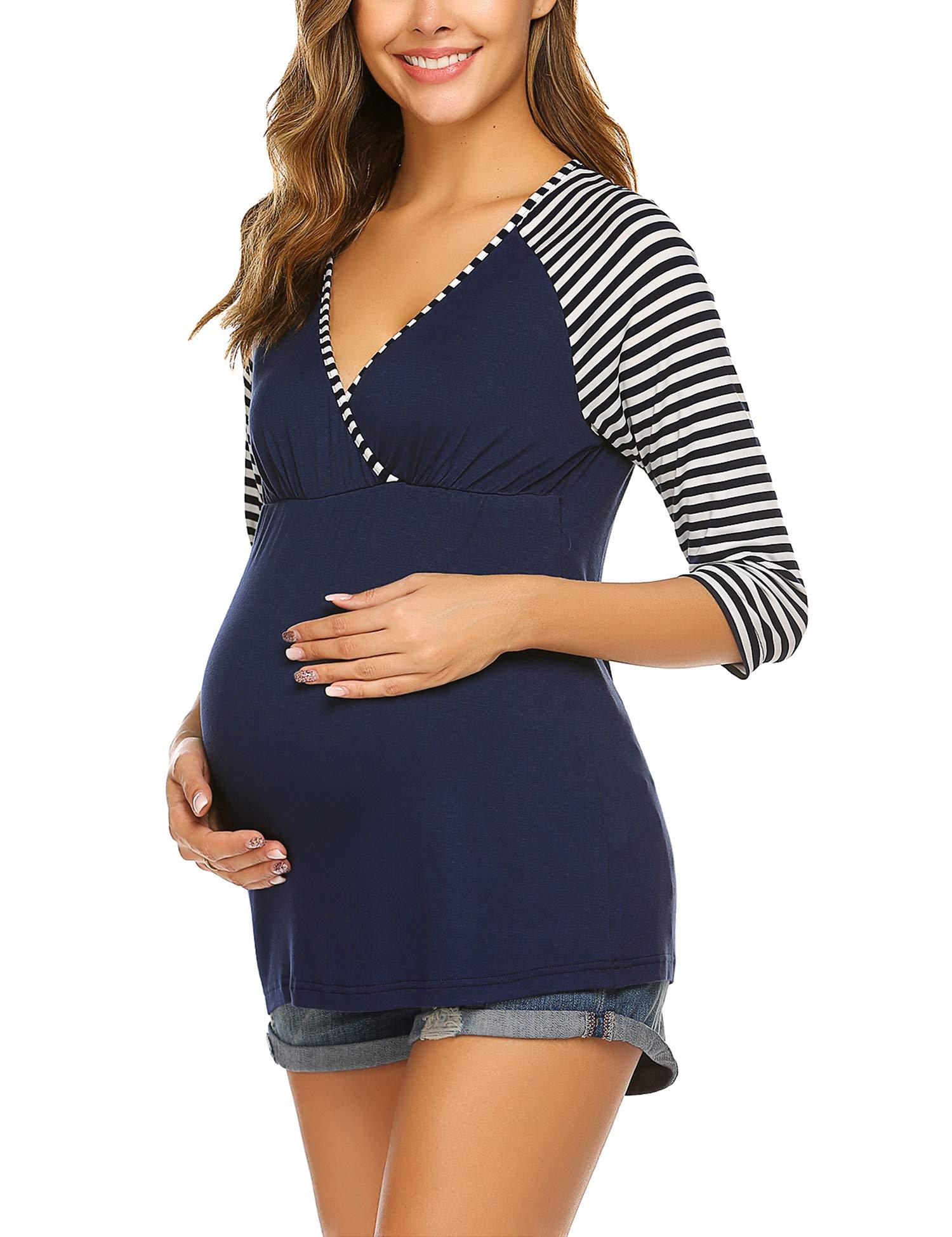 Ekouaer Women's 3/4 Sleeve Maternity Nursing Tops Stripe Patchwork Breastfeeding Shirts Tees (S-XXL)