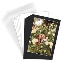 Golden State Art, Pack of 50 Black Pre-Cut 5x7 Picture Mat for 4x6 Photo with White Core Bevel Cut Mattes Sets. Includes 50 High Premier Acid Free Matts & 50 Backing Backers Board & 50 Clear Bags