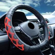ZATOOTO Flat Bottom Steering Wheel Cover - Black Red Leather D Shaped Sport D Cut for Women Universal 15 inch Breathable Massage Better Grip 010D red