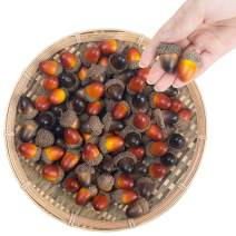 BigOtters Artificial Acorns, 100PCS Mixed Fake Nutty with Natural Acorn Cap Simulation Fruit Props for Home Decor Craft DIY Wedding Festival Party, 1.5x0.8(Large)