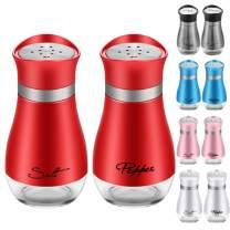 2 Pack Cute Salt and Pepper Shakers Stainless Steel Glass Bottom Spice Dispenser Sea Salt Sugar Shaker Refillable Pepper Shaker Seasoning Cans (Red)