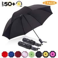 ABCCANOPY Umbrella Compact Rain&Wind Teflon Repellent Umbrellas Sun Protection with Black Glue Anti UV Coating Travel Auto Folding Umbrella, Blocking UV 99.98%