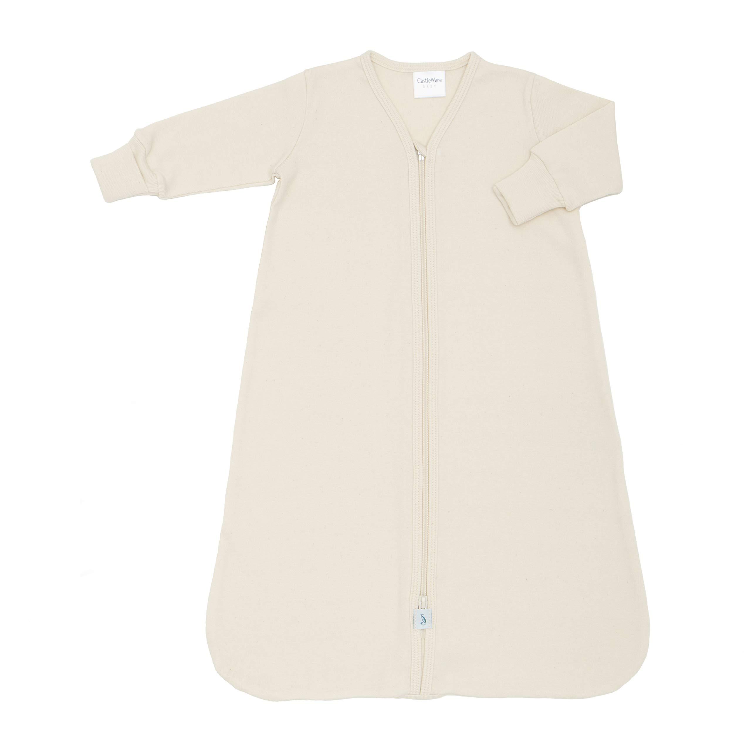 CastleWare Baby- Organic Cotton Rib Knit- Sleeper Bag- Long Sleeve- Newborn-4 Years (4, Natural)