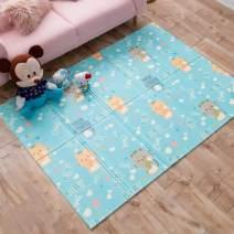 "INFANTRAIN Baby Play Mat Foldable Kids Playmat Infants Reversible Crawling Mat Toddlers Foam Play Mat Non-Toxic 78.7""x59""x0.4"""