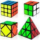 Speed Cube 4 Piece Set, Magic Cube 2x2 3x3 Pyramid Cube, Skew Cube
