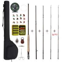 NetAngler Fly Fishing Rod and Reel Combo 4-Piece Fly Fishing Rod 5wt Aluminum Fly Reel Complete Starter Full Kit
