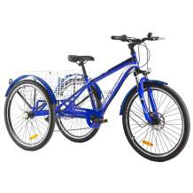 """Adult Tricycle, 7 Speed Three Wheel Bikes Mountain Tricycles, 24/26 Inch Adults Trikes Men's Women's Cruiser Trike Bike with Large Basket (24"""" Wheels, Blue)"""