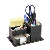 B FSOBEIIALEO Pen Pencil Holder, Leather Desk Stationery Organizer Storage Box, Office Supplies Business Name Cards with Small Drawer Black