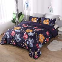 ENCOFT Blue Flowers Full Comforter Bedding Sets Winter Warm Twin/Full/Queen Bed Comforter Sets for Women Ladies Girls 3 Pieces Quilt Bedspread Bedding Sets with Pillow Shams,Blue Flower