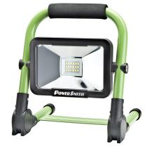 PowerSmith PWLR1110F 900 Lumen LED 4-Mode Weatherproof Lithium-ion Battery-Powered Cordless Foldable Portable Work Light with 360° Tilt, Metal Stand, Padded Handle, Wall/Car Charger, and USB Port
