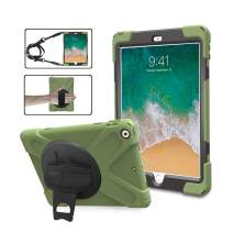 TSQ iPad Case 6th Generation/iPad 5th Generation Case with Stand, Full Body Child Proof Hard Rugged Protection Defender Case with 360 Degree Rotatable Hand Strap+Shoulder Strap for iPad 9.7,ArmyGreen
