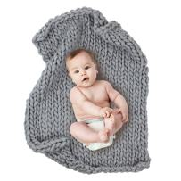 """Play Tailor Chunky Knit Blanket for Newborn Photography Props Baby Photo Backdrop Rugs Newborn Basket Filler (24""""x31"""", Grey)"""
